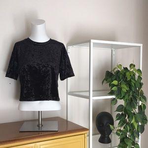 Velvet cropped t-shirt